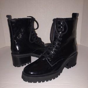 586b24f7626 Steve Madden Shoes - Steve Madden Black Patent Geneva Combat Boot 7